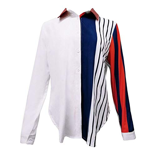 Womens Tops and Long Sleeve Blouses Vintage Striped Button V Neck Shirts Tunic Ladies Top Womens Clothing(Multi,XL) ()