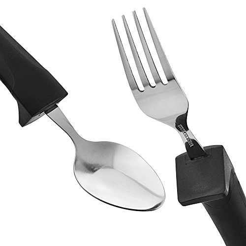 Adaptive Eating Utensils by CFOX   4pc Easy Grip Silverware Stainless Steel Knife, Fork, 2 Spoons for Parkinson's, Arthritis, Elderly, Hand Tremors Or ALS – (Black) Weighted Grips by Cfox (Image #2)