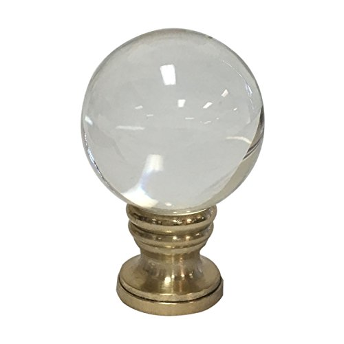 (Royal Designs Clear Crystal Ball Lamp Finial with Polished Brass Base)