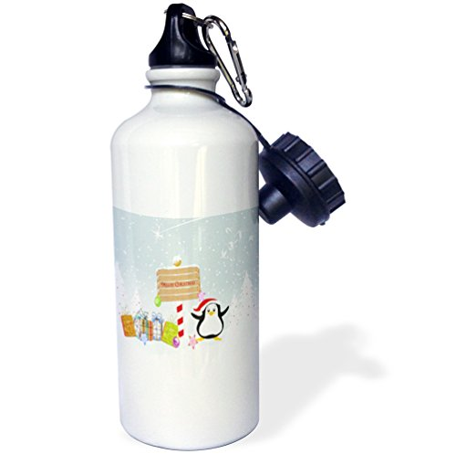 3dRose wb_119109_1 Christmas Santa Penguin with Presents and Merry Christmas Sign Winter Holiday Xmas Cartoon Greeting Sports Water Bottle, 21 oz, White