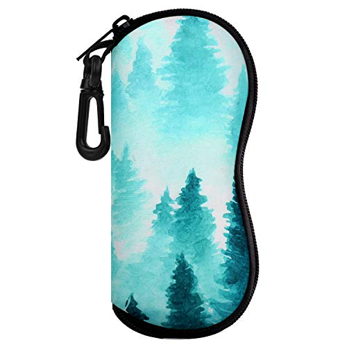 Moko Sunglasses Soft Case Ultra Light Neoprene Zipper Eyeglass Case w/Belt Clip - Ink Forest