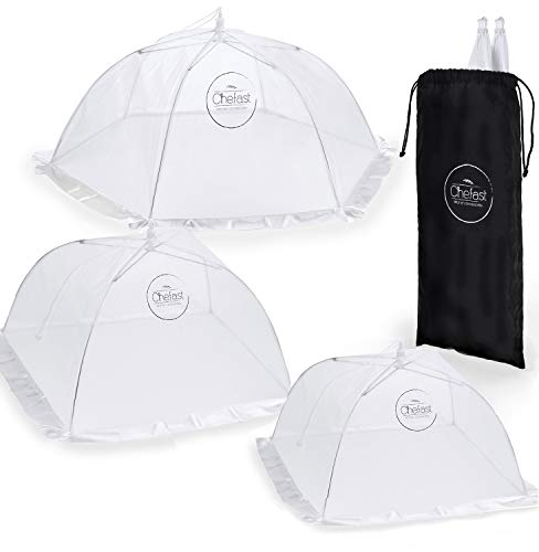Chefast Food Cover Tents (5 Pack) - Combo Set of Pop Up Mesh Covers in 3 Sizes and a Reusable Carry Bag - Umbrella Screens to Protect Your Food and Fruit from Flies and Bugs at Picnics, BBQ and More