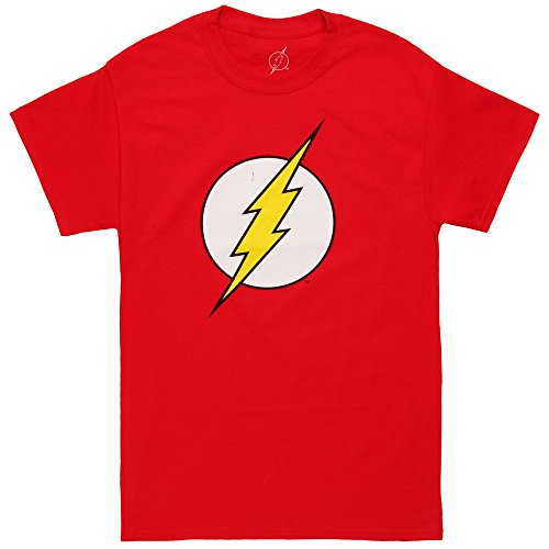 DC Comics Men's The Flash Short Sleeve T-Shirt, Logo Red, -