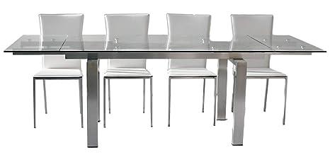 Tavolo da cucina allungabile in vetro New York - SG290: Amazon.it ...