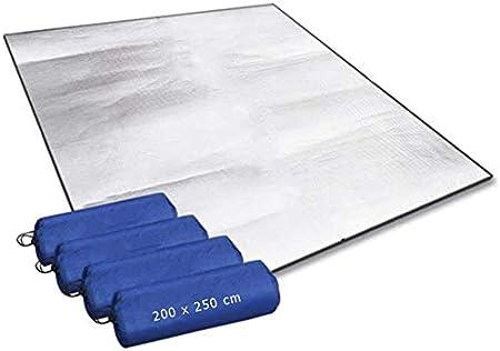 Esterilla de espuma de aluminio para dormir, para camping, 200 x 250 cm, aislante, térmica, plegable, de aluminio, ultraligera