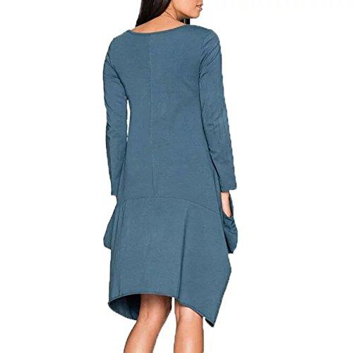 Bettergirl (femmes Tm Longues Poches Manches Robe Lâche Ourlet Irrégulier Occasionnel Bleu 1