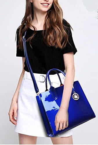 pieces Blue Shoulder Handle Leather Womens Sets Three Hobos Bags Handbags body Patent Cross FTSUCQ Messenger 7wBq4C