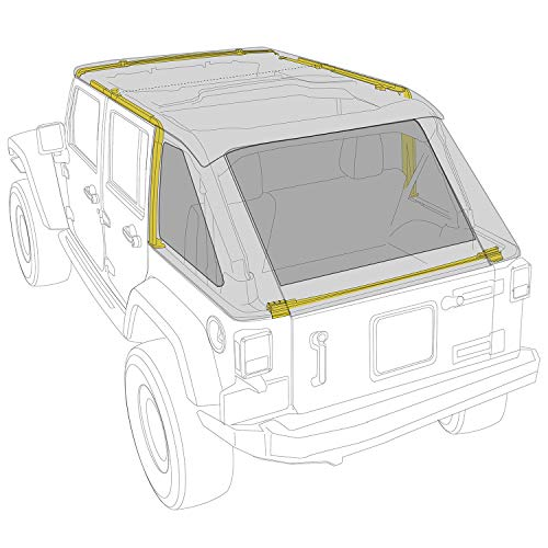 Smittybilt 9083135K Black Diamond Bowless Combo Top w/Tinted Windows 4 Door (2012 Jeep Wrangler Tinted Soft Top Windows)