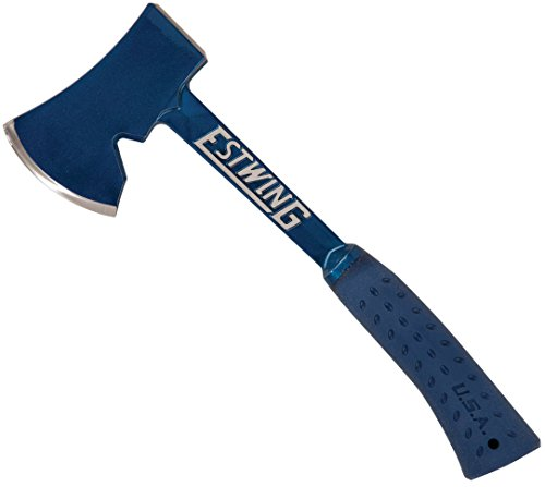 Estwing Camper's Axe – 14″ Hatchet with Forged Steel Construction & Shock Reduction Grip – E6-25A