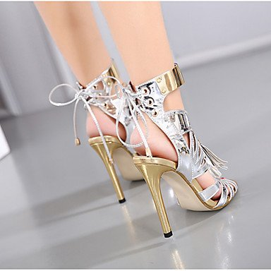 Sandals 5 Heel Silver PU 5 Summer Women's 5 Stiletto Tassel UK4 Black 7 EU37 US6 CN37 Dress ZCgdXwq