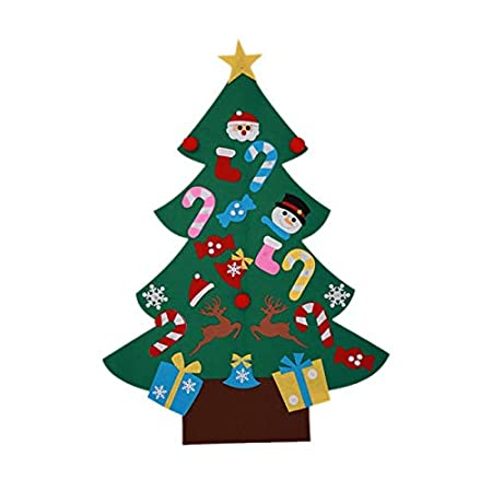 DIY Felt Christmas Tree Set with 26 Detachable Ornaments New Year Xmas Gifts for Kids Door Wall Hanging Decor Ingzy
