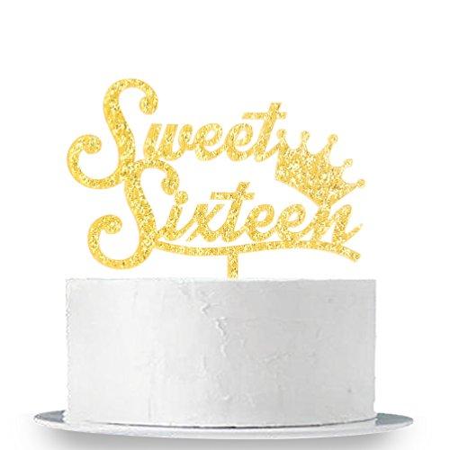 INNORU Gold 16 Cake Topper - Silver Crown