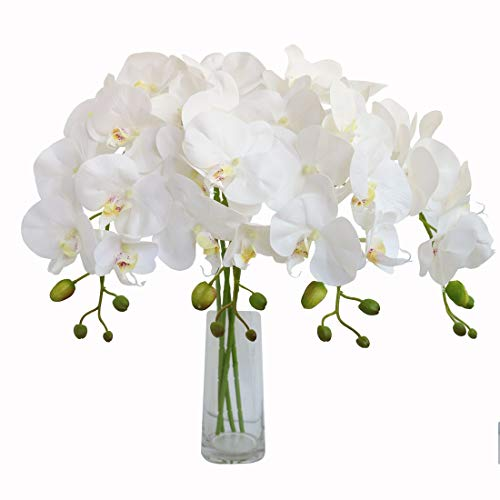 - Jasming 4pcs Real Touch Orchid Flowers Artificial Branches Green Stems Arrangement for Wedding Home Garden Decoration (White)