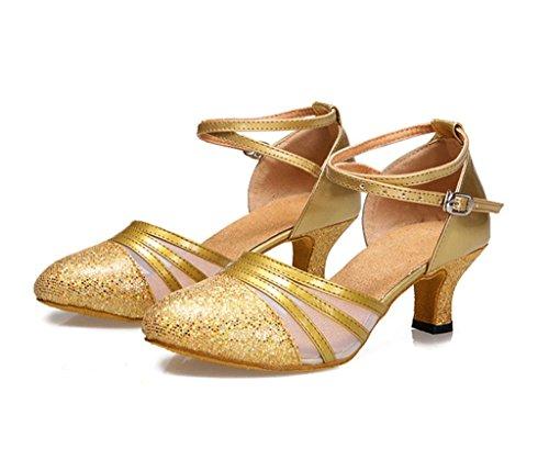 Meijili - Zapatillas de danza para mujer, color dorado, talla 36