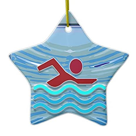 christmas ornaments swim club swimmer exercise fitness nvn254 swimming ceramic ornament