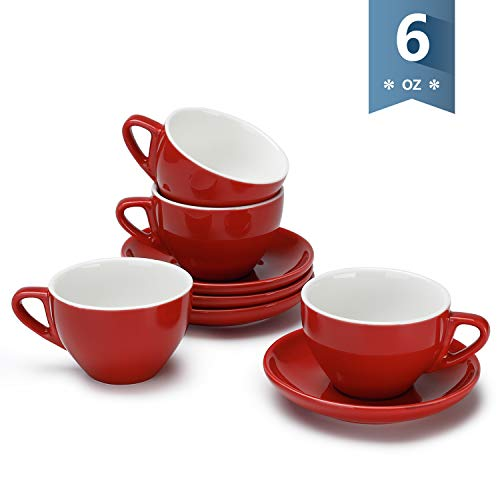 Sweese 403.104 Cappuccino Cup and Saucer Set, 6 Ounce Perfect for Specialty Coffee Drinks, Latte, Cafe Mocha and Tea, Set of 4, Red