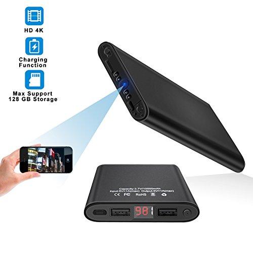 Wifi Hidden Spy Camera HD 4K Mini Surveillance Cameras Night Vision Motion Detection Home Security Cam 10000mAh Power Bank Miniature Camera Recorder for Home, Office, Car