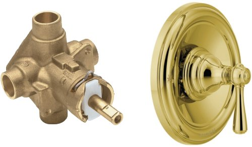 Moen T2111P-2520 Kingsley Posi-Temp Tub/Shower with Valve, Trim Kit with Valve, Polished Brass by Moen