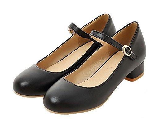 Noir Femme d'orteil Fermeture Shoes Boucle AgeeMi Talon Bas Chaussures à Légeres v5wnq
