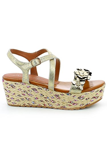 377 Platinum CAF Strap Noir Bands Flowers HA924 CAFèNOIR Woman Platino Sandals Wedge 7qOv11