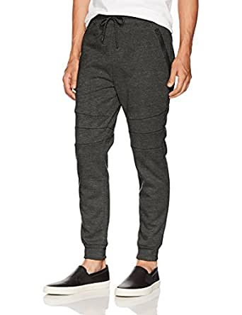 Southpole Men's Tech Fleece Jogger Pants with Zipper Details, Heather Charcoal/New, Small