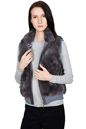 OBURLA Women's 100% Real Rex Rabbit Fur Vest - Warm Sleeveless Fur Jacket with Zipper and Genuine Leather Accent (Grey, Small)