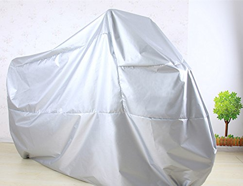 XXL Motorcycle Motorbike Water Resistent Waterproof Rain UV Protective Breathable Motor Cover for Yamaha harley-davidson Outdoor Indoor Silver Extra Extra Extra Larger + storage bag Size: 245x105x125cm /96.5x41.5x49.2inch(L.W.H)