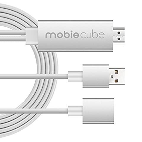 MobieCube HD Mirroring Cable Smart PnP Lightning to HDMI Cable supports 1080P Connector TV Car Projector Adapter for iPhone 7/ 5/5C/5S/6/6 Plus/6S ,Samsung S3/4/5/6 Note with USB Charging (Hdmi Tv Adapter For Iphone 5s)