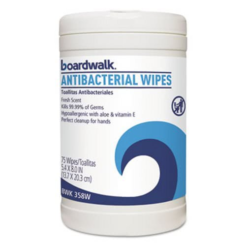 Boardwalk 358-W Antibacterial Wipes, 8 x 5 2/5, Fresh Scent (6 Packs of 75) by Boardwalk