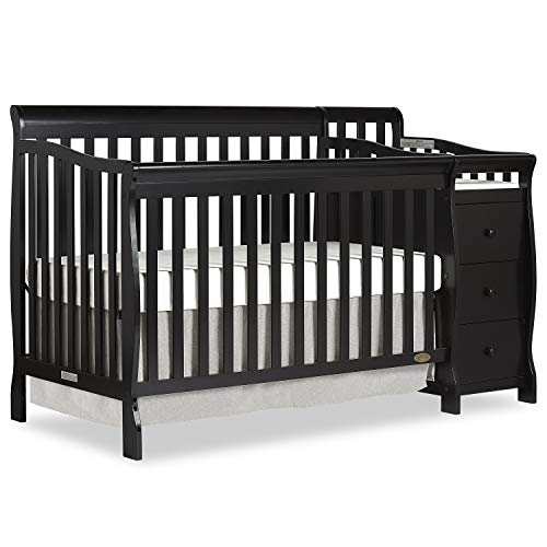 Dream On Me 5 in 1 Brody Convertible Crib with Changer, Black ()