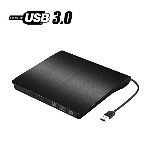 ibon USB 3.0 CD/DVD-RW Drive, Slim High Speed CD Player Burner for Macbook Air Pro /Air/ iMac and Laptop Desktops Support Windows/ Vista/7/8.1/10, Mac OSX (black) (Dvd R Macbook Pro)