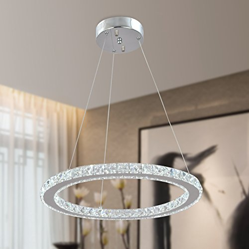 UNITARY BRAND Modern Crystal Warm White LED Pendant Light With (20 Contemporary 1 Light)