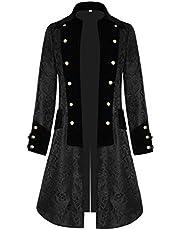 COCD Steampunk Vintage herenjas Jacquard slipjas Fluwelen kraag Gothic Victoriaanse jas Halloween-kostuum