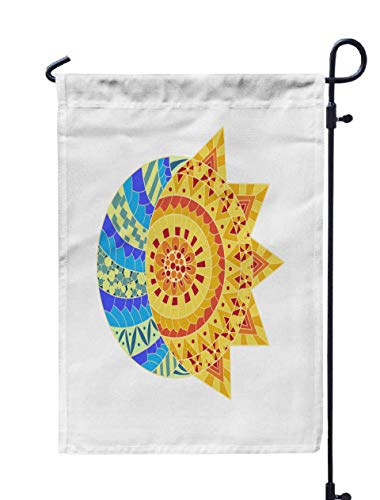HerysTa Spring Garden Flag, Decorative Yard Farmhouse Holiday Banner 12 x 18 inches Sun New Moon Anti Stress Colouring Page Pattern Coloring Book in Style Colorful Double-Sided Seasonal Garden Flags]()
