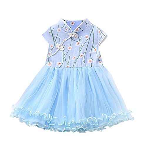 Sannysis Baby Kleider, Süße Baby Mädchen Prinzessin Floral Tutu Geburtstag Party Hochzeit Prinzessin Kleid Hellblau