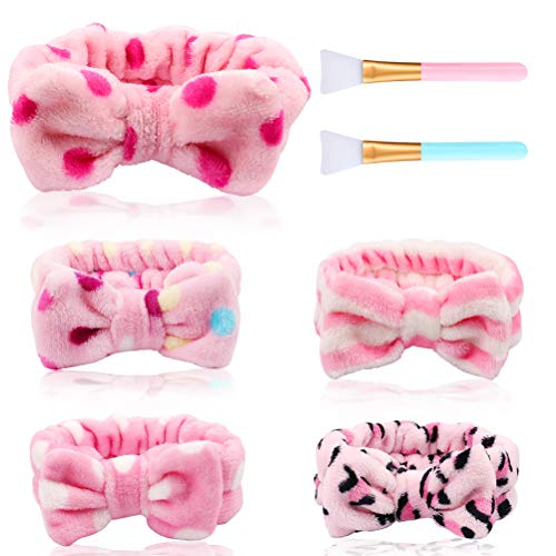 Spa Headband-CUBACO 5 Pcs Headband for Washing Face Soft Face Wash Headband Makeup Headband Bowknot Spa Headbands for…