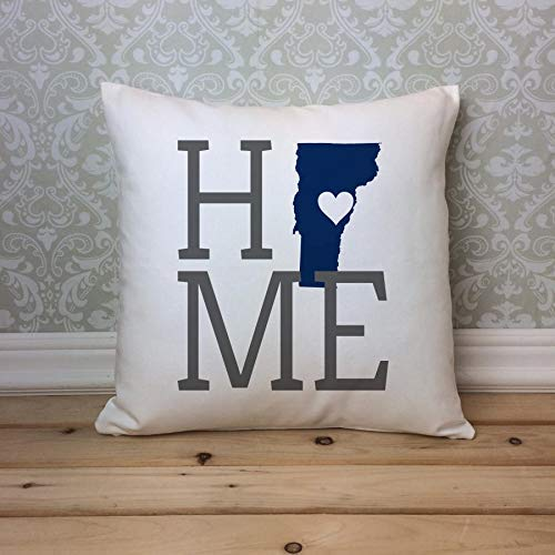 (Home Decor Gift Vermont Pillow Cover, Vermont State Pillowcase, Vermont Home Pillowcase, Housewarming Gift, Vermont Home Decor, Vermont Decor, Vermont Gift Square Cushion Case for Sofa 18 x 18 Inch)