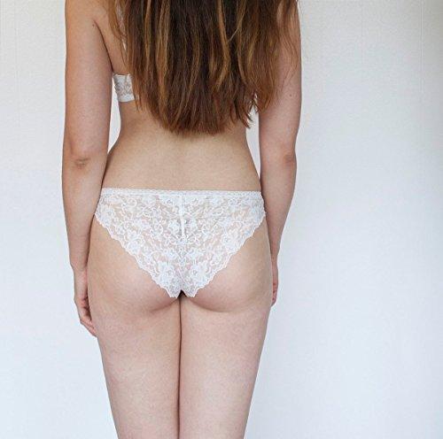 - Sheer Nude Tone Panties with Ivory Lace Back. High Leg Cut. Handmade Bohemian Lingerie