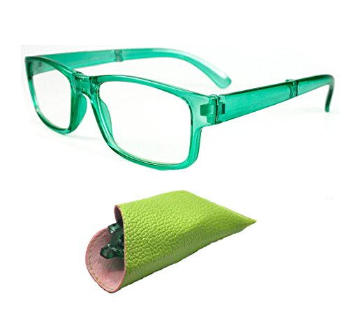 Folding Slim With Case Readers Women Reading Glasses +1.00 1.25 +1.50 +1.75 +2.00 2.25 +2.50 +3.00 3.50 (SELECTION: Green - Away Fold Sunglasses