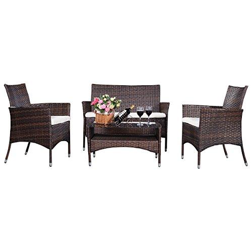 Gartenmöbel Rattanmöbel Lounge Set Sitzgruppe Sofa Garnitur modern Polyrattan 4tlg Polyratten Lounge Set Gartengarnitur