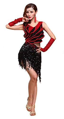 Women's Sexy Fringe Tassel Ballroom Salsa Costumes Tango Latin Rumba Dance Dress Medium -
