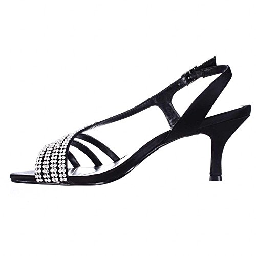 Caparros Womens Bethany Open Toe Special Occasion, Black Satin, Size 6.5