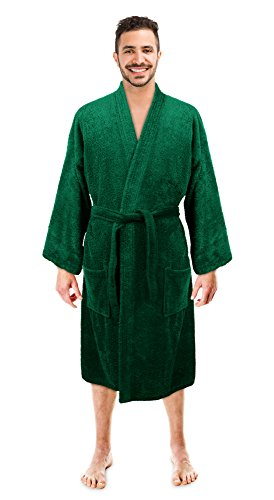 Soft Touch Linen Men's Robe, Turkish Cotton Terry Kimono Spa Bathrobe (Green, (Green Mens Robe)