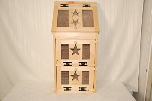 Kenzie's Kreations Unfinished Star Veg Bin with Bread Box on Top, 17