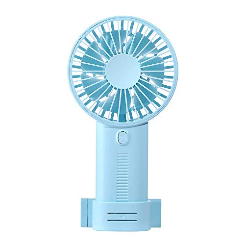 WIOR Mini Personal Handheld Fan, Portable USB Rechargeable Quiet Desk Cooling Fan with Phone Bracket for Office Room Outdoor Household Traveling Blue