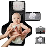 Baby Nappy Changing Mat, Portable Diaper Change Kit with Head Cushion, Wipes Pockets-Waterproof & Foldable for Anywhere Use(Grey)