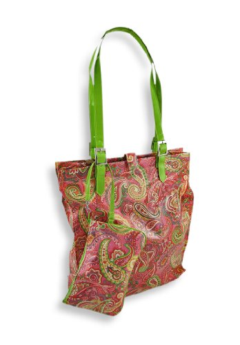 Pink Paris Paisley Tote Bag and Wristlet Set ()