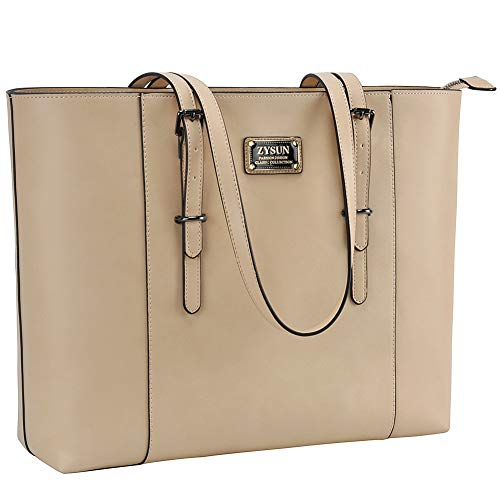 ZYSUN Laptop Bag for Women,15.6 in Large Laptop Tote PU Leather Functional Structured Tote with Long Straps for Work Travel Beige