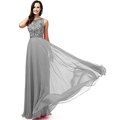 SOLOVEDRESS Womens A Line Evening Dress Long Chiffon Wedding Party Dress Prom Gown Beaded (US 2,Silver Grey)