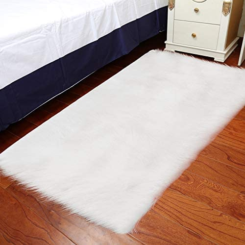 Baulody Super Soft Indoor Modern Shag Area Silky Smooth Fur Rugs Fluffy Rugs Anti-Skid Shaggy Area Rug Dining Room Home Bedroom Carpet Floor Mat 3 x4 , White